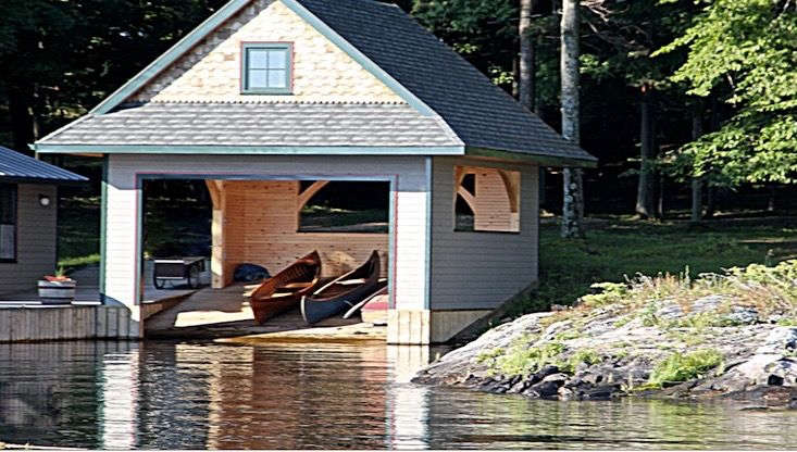 The skiff house has a ramp to make it easy to launch boats.