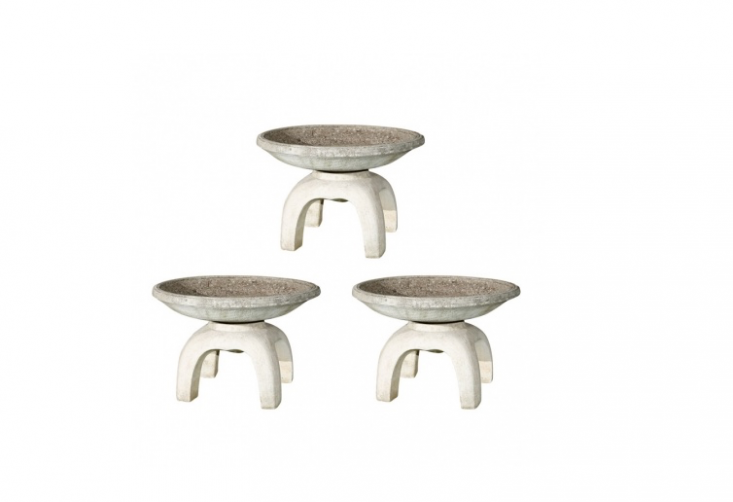 Block sources vessels from abroad. Hereare three round, two-piece Japanese planters circa 50.(.5 inches by  inches high). For more information and prices, see Inner Gardens.