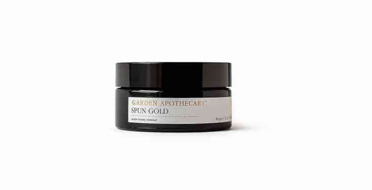 A natural facial cleanser made with local honey &#8\2\20;lovingly gathered from beekeepers in our small coastal community&#8\2\2\1; of Half Moon Bay, California, a jar ofSpun Gold is \$68 from Garden Apothecary.
