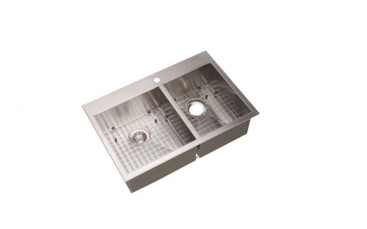 For a similar top-mount stainless steel sink with squared-off edges, consider the Houzer Bellus Double Bowl Kitchen Sink, which is $337.04 at Home Depot.