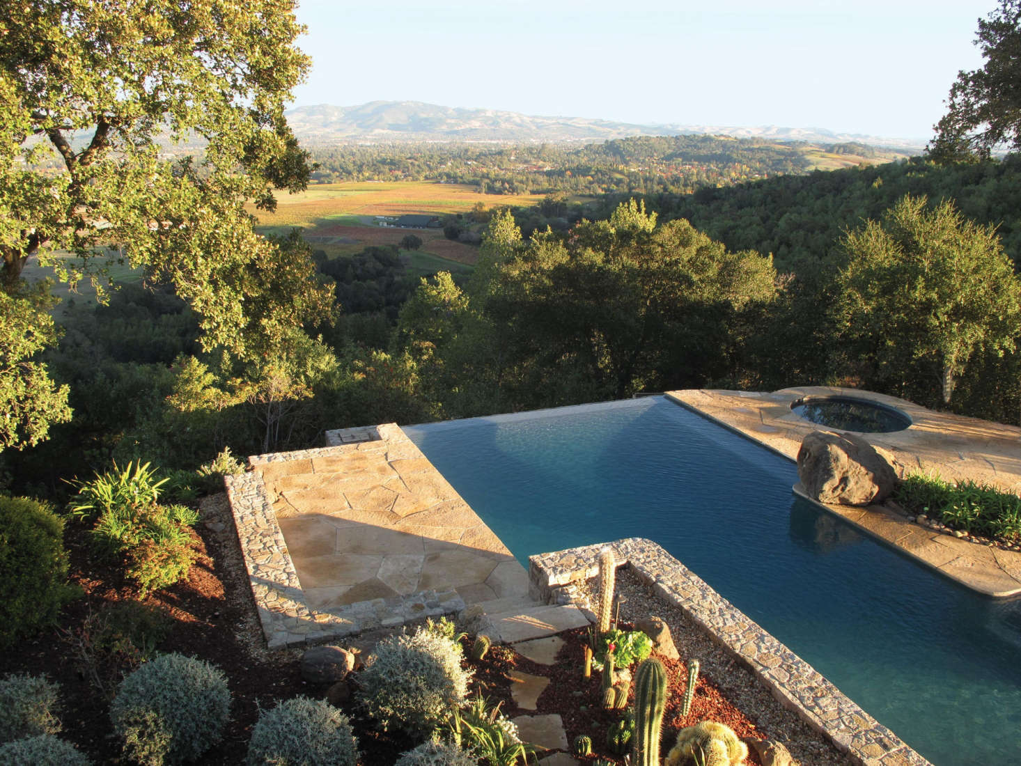 A swimming pool at a Napa Hills estate, by Scott Lewis Landscape Architecture. See more in Ask the Expert: An Insider's Guide to Swimming Pool Design from Scott Lewis. Photograph by Scott Lewis Landscape Architecture.