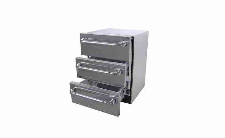 A set of Solaire Refrigerated Triple Drawers has an automatic defrost setting and an adjustable temperature range from 35 to 95 degrees Fahrenheit. It is \$3,797 from Woodland Direct.