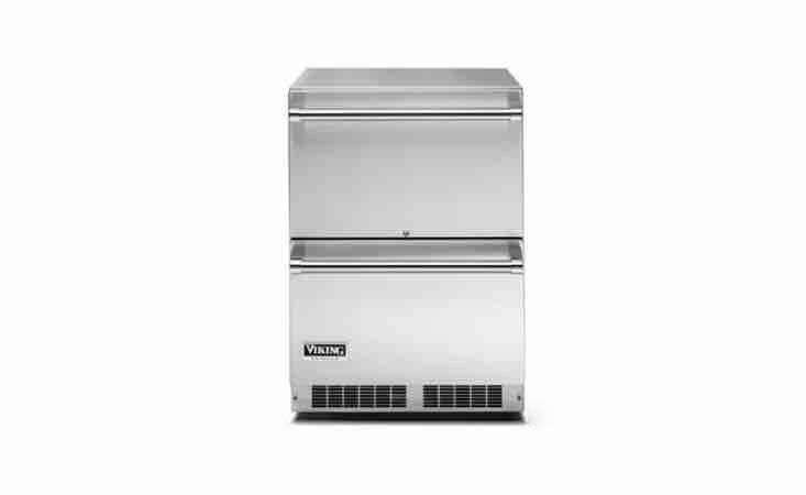 Viking&#8\2\17;s \24-In Undercounter Outdoor Refrigerator Drawers unit has an alarm to alert you if a drawer is left ajar; \$3,\299 from A.J. Madison.