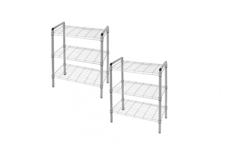 Under-counter wire shelving neatly corrals the shop&#8