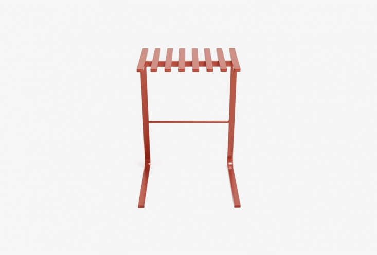 The Terracotta Steel Stool is $395 at ABC Carpet & Home. Other options include the Another Country Stool One in Red for £5 ($0 USD) or the brown/rust colored Leather Sling Stool for $loading=