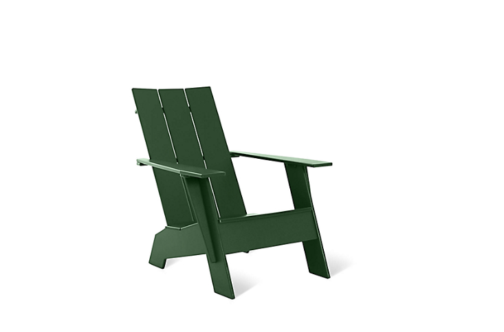 From Loll Designs, a weather-impervious Adirondack Chair made of recycled plastic (mostly milk jugs) comes in 9 colors including British green as shown; $7 from DWR.
