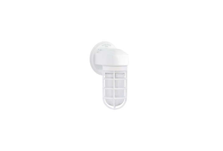 TheAtomic Topless Steamline Industrial Guard Sconce in White is $5 at Barn Light Electric.