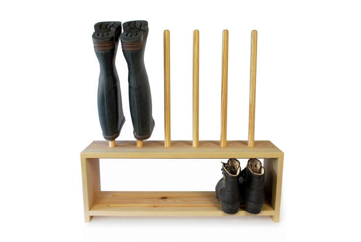 The double-duty Welly Boot and Shoe Rack (three-pair) is £99 in pine from Boot & Saw, which offers larger versions of the design and a range of other standing and wall-hung boot racks.