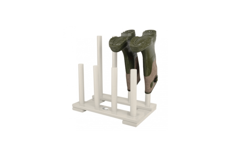 French housewares company On Range Tout offers a White Wooden Garden Boot Rack for €37.90.