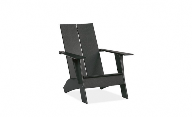 An Emmet Lounge Chair is made of recycled plastic, comes in eight colors including black as shown, and has a steel bottle opener under one arm; $449 from Room & Board.