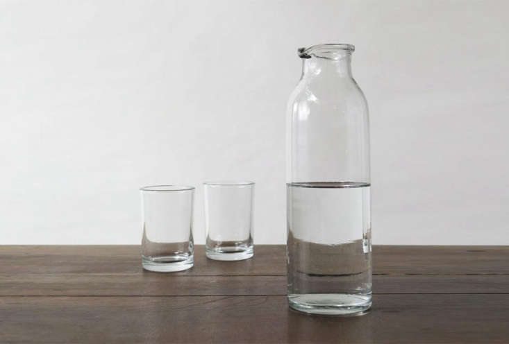 The Erica Tanov Simple Glass Carafeis $ and Simple Glass Tumblers are $7 each, both at Erica Tanov.