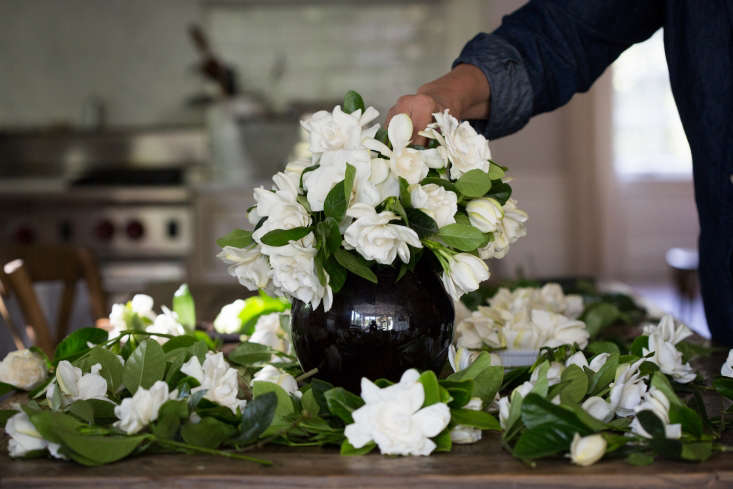The gardenias are easy to arrange. Sturdy stems hold them upright and all those leaves fill in any gaps in a floral arrangement.