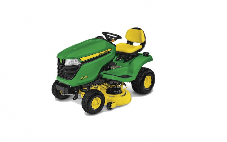 From John Deere, an X350 Tractor with a 4\2-inch deck has a powerful \2-cylinder engine; \$\2,999.