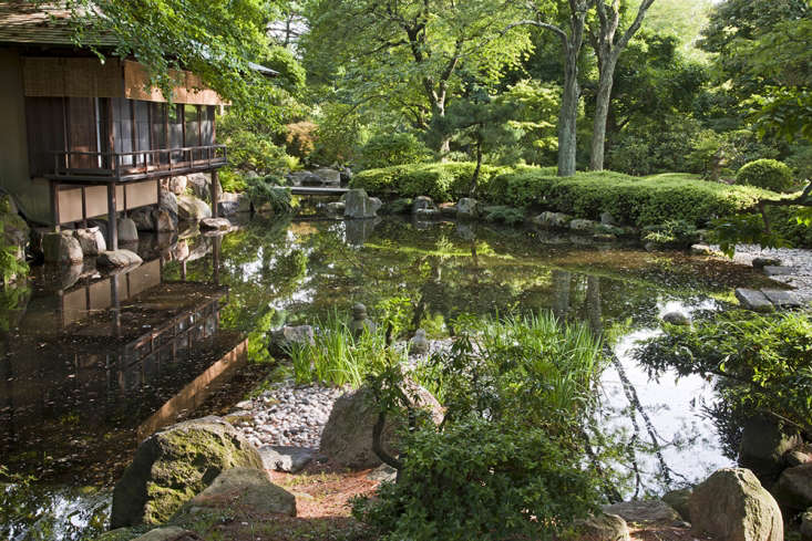 The \16th-century-style teahouse was commissioned in \1960 by Nelson Rockefeller and his sister-in-law, Blanchette Rockefeller, and prefabricated in Kyoto.