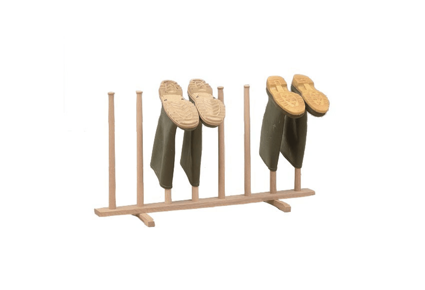 With its tapered pegs, the Henderson Oak Wellington Boot Stand also shown in the top photo is £70; from Cotswold Co., it has a Shaker-esque silhouette.