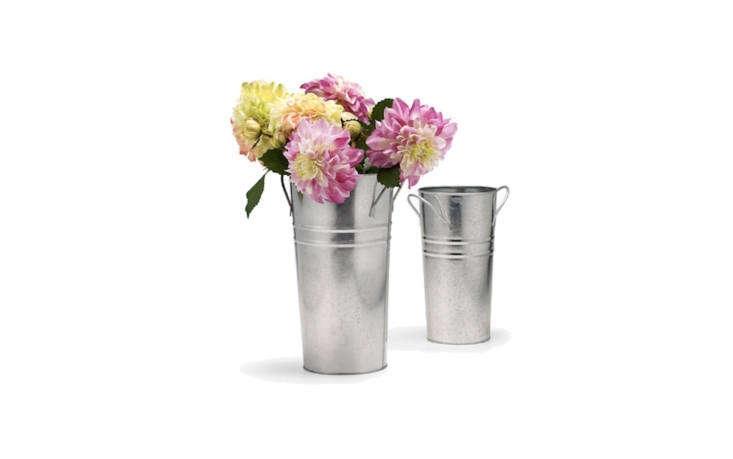 Zinc French Vases With Round Handles are from \$3.99 to \$\100 depending on size and quantity at Jamali Garden.