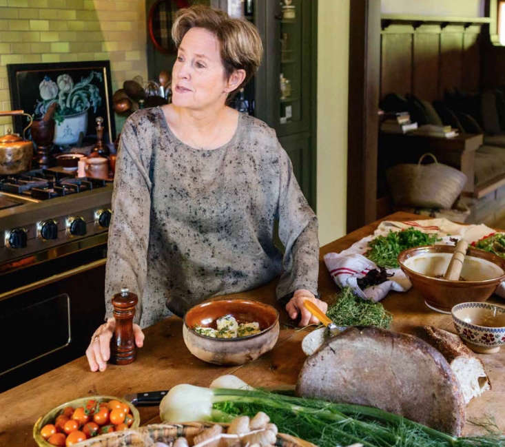 Chef Alice Waters at home in her Berkeley, California kitchen.