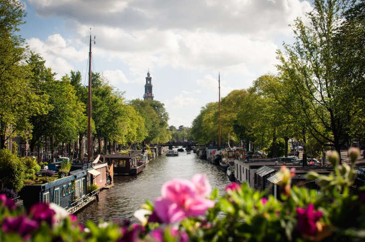 Many houseboats on the Prinsengracht canal in Amsterdam have roof gardens and container gardens on deck. Photograph by Mr. Amsterdam via Flickr.