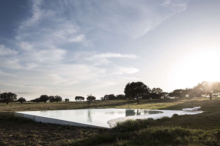 The pool barely risesfrom the ground; its depth is sunken into the landscape.