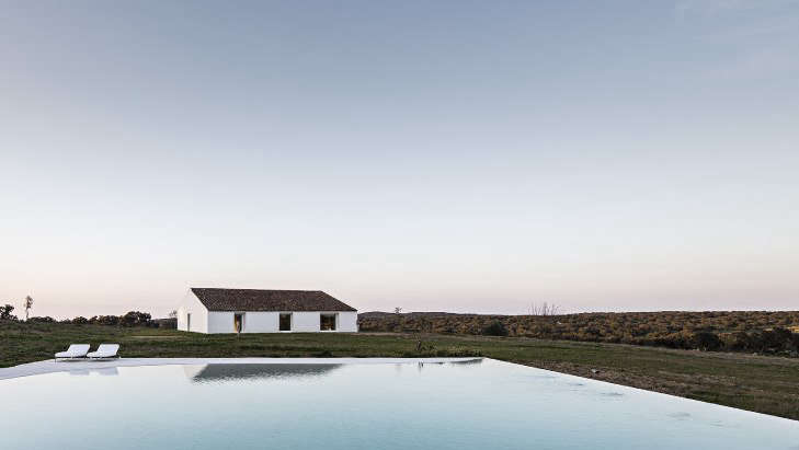 The pool is 400 square meters (about 4,300 square feet). Its only adornment is a pair of Ile Club Daybeds by Piero Lissoni from Living Divani.