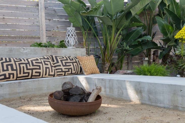 Golubovic sourced the simple metal fire pit from an estate sale.