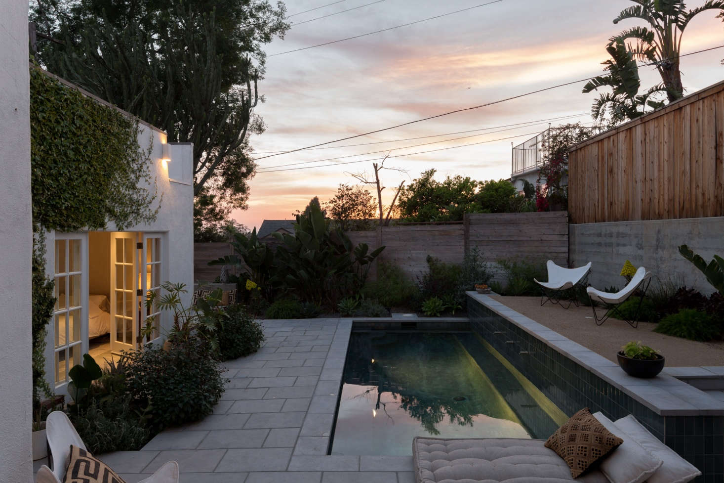 The pool is illuminated for sunset swims. (See  Easy Pieces: Underwater Landscape Lights.)
