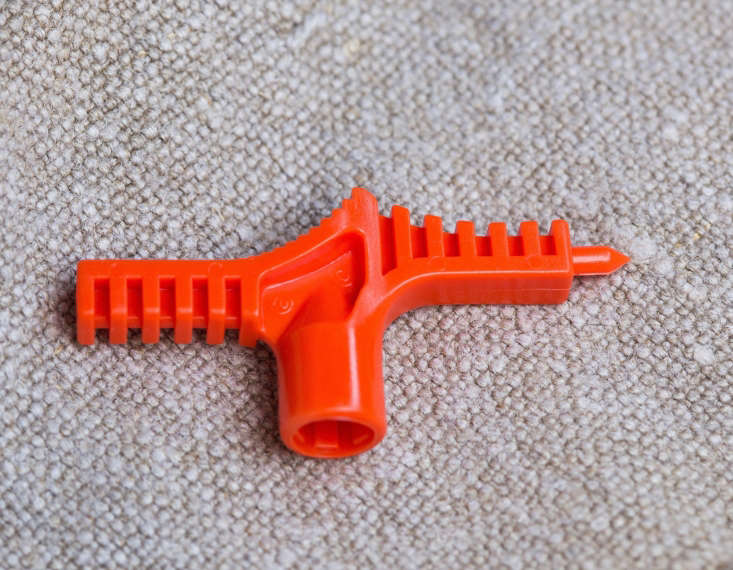 My favorite poker, called a key punch. The bright orange color means I don&#8\2\17;t loose it in the dirt&#8\230;as easily. A similar yellow Drip Irrigation Key Punch Tool is \$.53 from Sprinkler Warehouse.