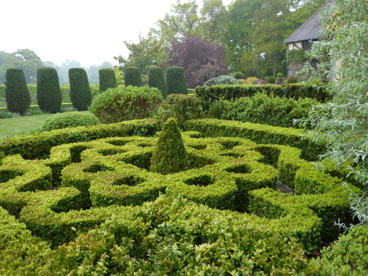 The knot garden, planted with boxwood.