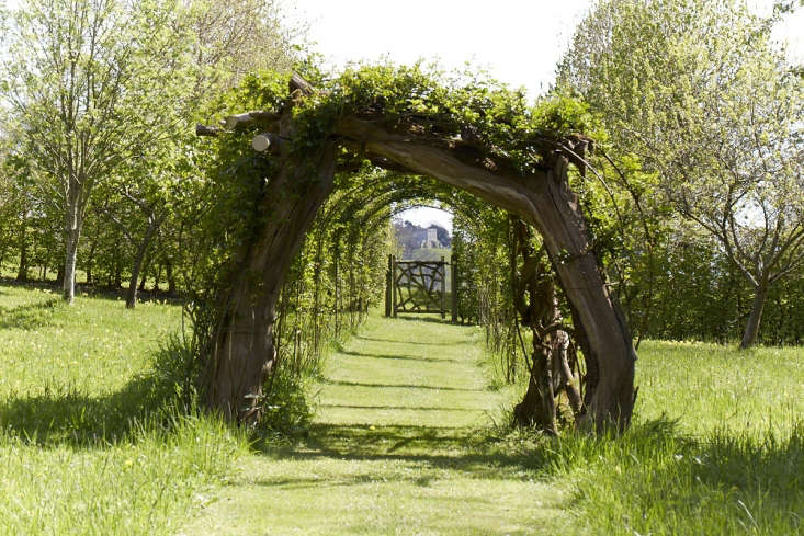 Mown grass paths lead past the Potager and an apple and pear arch to a memorial Dachshund Obelisk, surrounded by shrubs such as Vibernum plicatum 'Mariesii' with its lacy corymbs of white flowers.