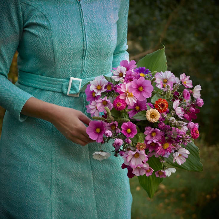 Vibrant pink bouquet from Juliane&#8\2\17;s includes: bergamot, dahlia, zinnia, cosmos, sweet pea, mint, aster, and hosta.
