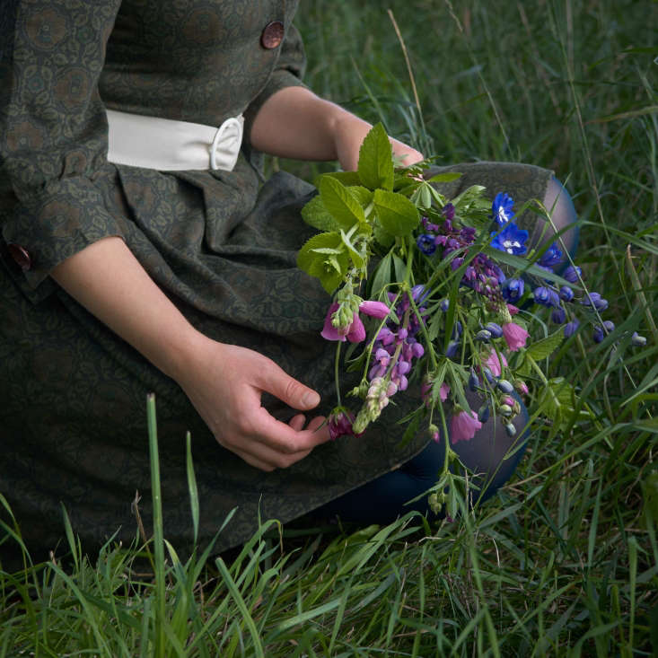 This bouquet of delphinium, lupine, foxglove, mint, and musk mallow was picked in theJuliane&#8\2\17;s garden and fromthe meadow behind herhouse.