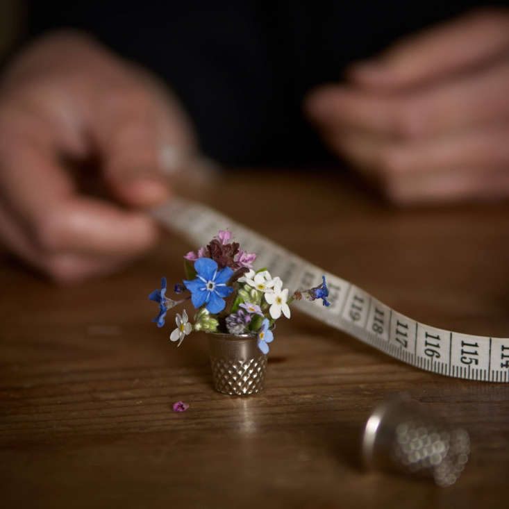 On a recent chilly spring day, Juliane paused from sewing long enough to fill a thimble with blue-eyed Mary, wood forget-me-not, and bugle.