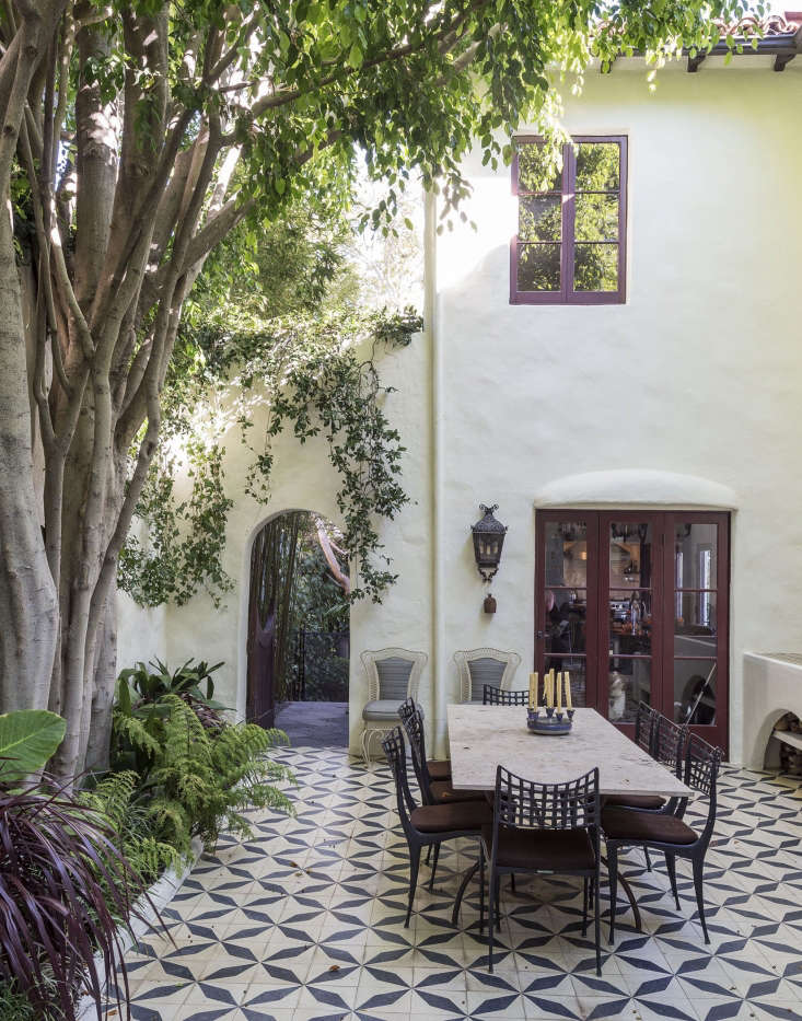 A tiled courtyard in Los Angeles is an indoor-outdoor dining room.