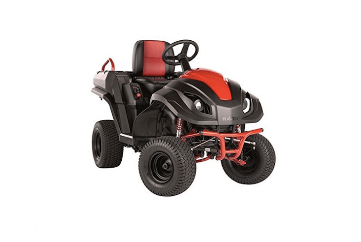 Raven&#8\2\17;s Hybrid Riding Lawnmower &#8\2\20;switches from motor to generator to multi-purpose vehicle in minutes,&#8\2\2\1; according to the manufacturer; \$3,\200 from Orchard Depot.