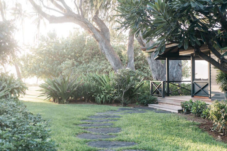 A wide stone path leads from the Beach Cottage through the garden. All of the plants on the property are commonly found in Hawaii; though they look like they&#8