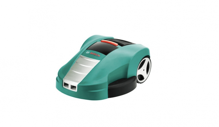 The Bosch Indego mows in parallel lines. Robotic mowers have been popular in Europe for the last two decades; this model isn't available in the U.S.