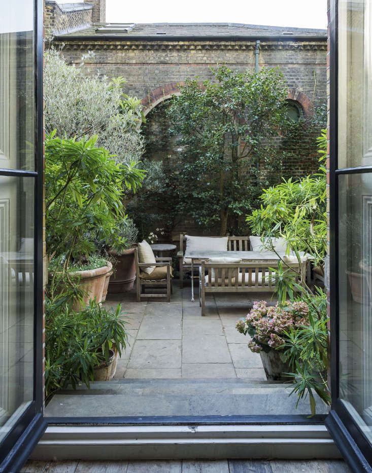 French doors in the living room lead to the walled garden. The terrace is paved with old Yorkstone (a type of sandstone quarried in Yorkshire) and flanking the doorway are two evergreen euphorbia shrubs, which resemble rhododendrons. A newish variety, Euphorbia x pasteurii  has fragrant yellow honey-scented flowers in late spring.