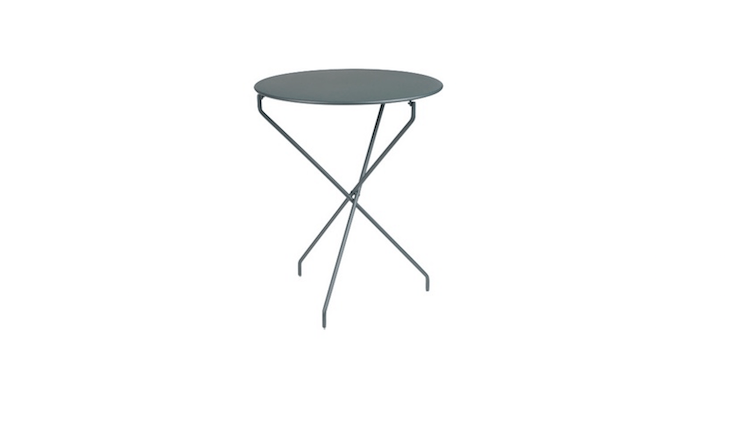 Fermob&#8\2\17;s folding pedestal Tertio Table has a steel frame and tabletop and is available in \24 colors including Storm Grey as shown; \$\287 from \2 Modern.