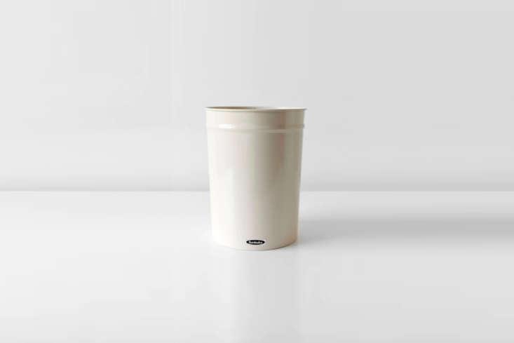 The enameled steelSmall Bunbuko Waste Basketin white is \$34 from Brooklyn-based Salter House.