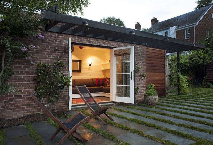 Architect Catherine Fowlkes of Fowlkes Studio converted a unused garage into a guest cabana and to create direct access from the house into a large backyard. For more of this project, see Outbuilding of the Week: A Guest Cabana in Washington, D.C. Photograph by Brandon Webster courtesy of Fowlkes Studio.