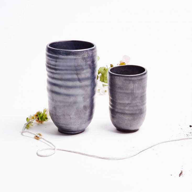 Made in the Netherlands, handmade Ceramic Luster Garden Pots in shiny gray are6.3 inches high; \$\15 apiece from ABC Home.