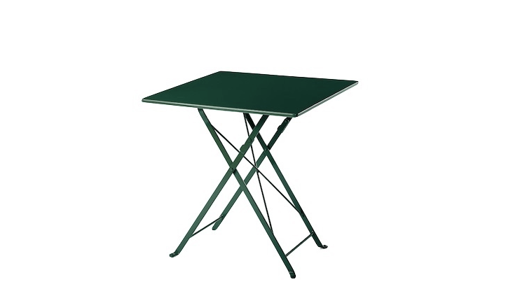 A Balcony Folding Table available in red or green is made of powder coated galvanized steel; €\175 from Manufactum.
