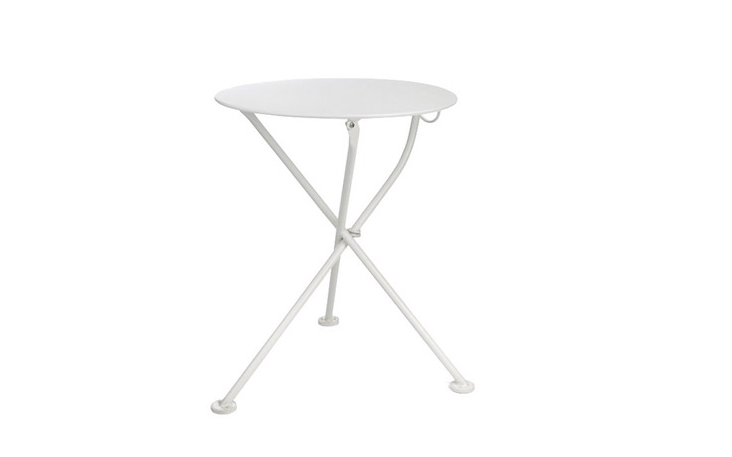 A Steel Folding Table available in white, red, or green is €\1\19 from Manufactum.