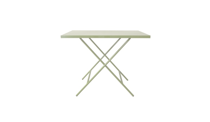 A folding table with removable legs, the SR Foldable Table has a tabletop that can do double duty if you hang it on the wall to use a dry erase board. It comes in four colors including mint green as shown and is \$3\25 from Scout Regalia.