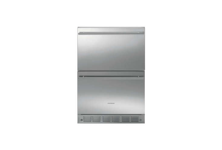 Double-Drawer Refrigerator Modulesfrom Monogram are \$3,000 for a set of two with tubular steel handles.