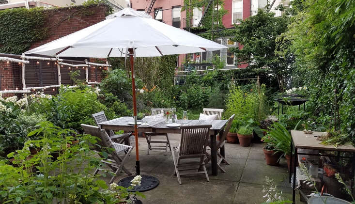 Patio umbrella and garden in Brooklyn by Marie Viljoen