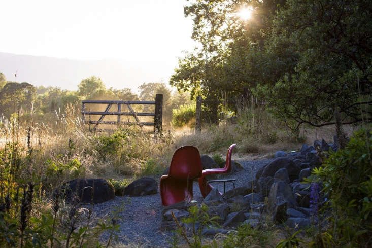 Pantonchairs face the dawn. Made in Germany by Vitra, designer Panton Molded Plastic Chairs is available in six colorsfor \$3\10 apiece from Hive Modern.