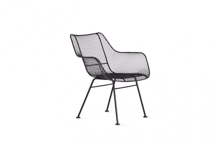 A reissue of the original Russell Woodard design, a moldedSculptura Occasional Chair made of powder-coated iron is 33.5 inches high, 30 inches wide, and \27.5 inches deep; \$795 at Design Within Reach.