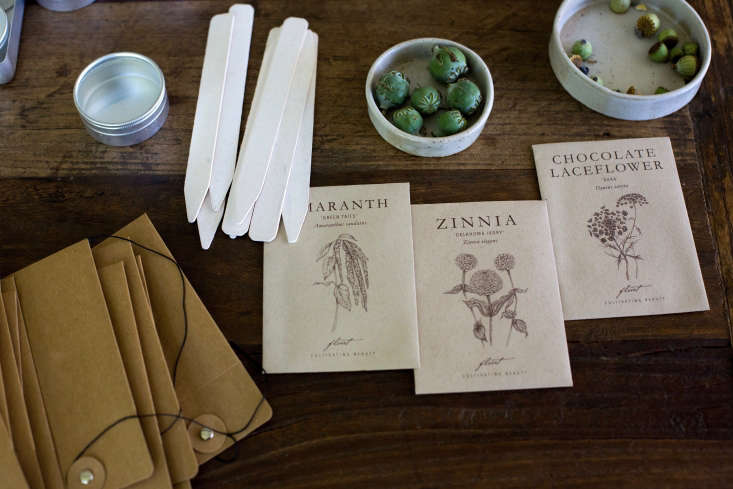 Packets of Flower Seeds such as Amaranth Green Tails, Zinnia Oklahoma Ivory, and Chocolate Lace Flower are\$3.95 apiece from Floret Farm.