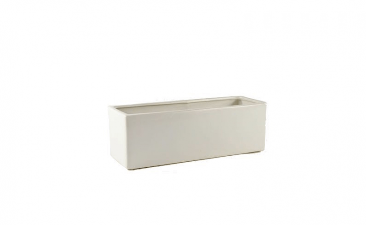 A \13-inch matte white Ceramic Block Planter is \$9.95 from Wholesale Flowers and Supplies.